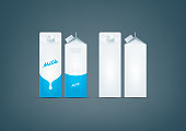 Photo-realistic premium vector set of white carton pack for milk mockup ready for to display your design. All color used here are CMYK compatible