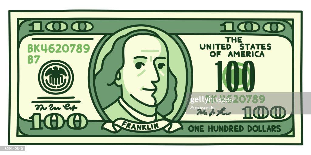 cartoon 100 dollar bill vector art thinkstock rh thinkstockphotos com 100 dollar bill vector download Benjamin Franklin 100 Dollar Bill