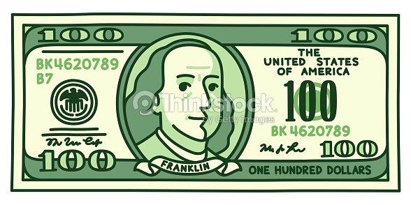 Billete De 100 Dólares De Dibujos Animados Arte Vectorial