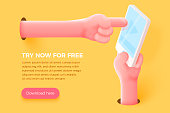 Vector site banner concept - cartoon 3d realistic hand holding cell phone and other hand touch the screen, with place for your text and button. Application landing template.