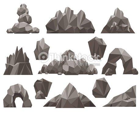 Dibujos Animados 3d Roca Y Piedra Conjunto Arte Vectorial Thinkstock