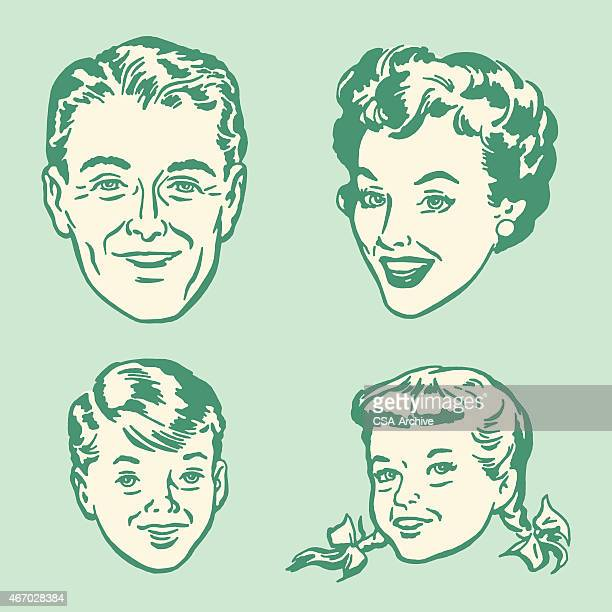 Cartoon 50s style graphic of a family