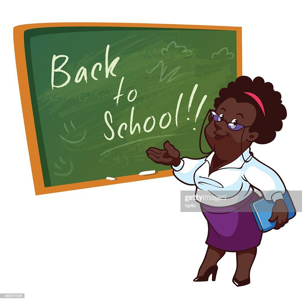 Cartoon African American teacher stands near the school board : Vector Art