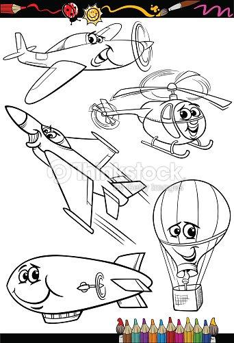 Conjunto De Dibujos Animados Aviones Para Libro Para Colorear Arte ...