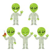 Cute cartoon alien set. Little green alien with different poses and expressions. Isolated vector illustration.