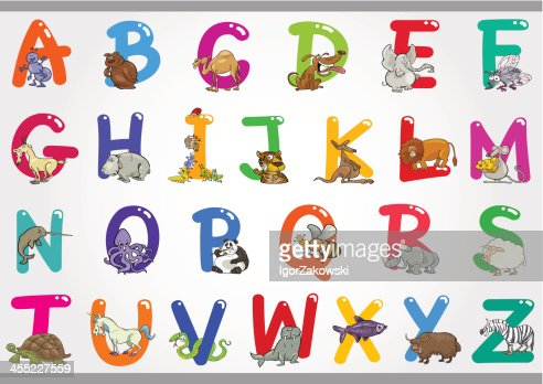 Cartoon Alphabet With Animals Illustrations Vector Art