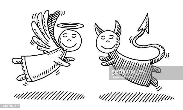 Cartoon Engel und Teufel zusammen Zeichnung