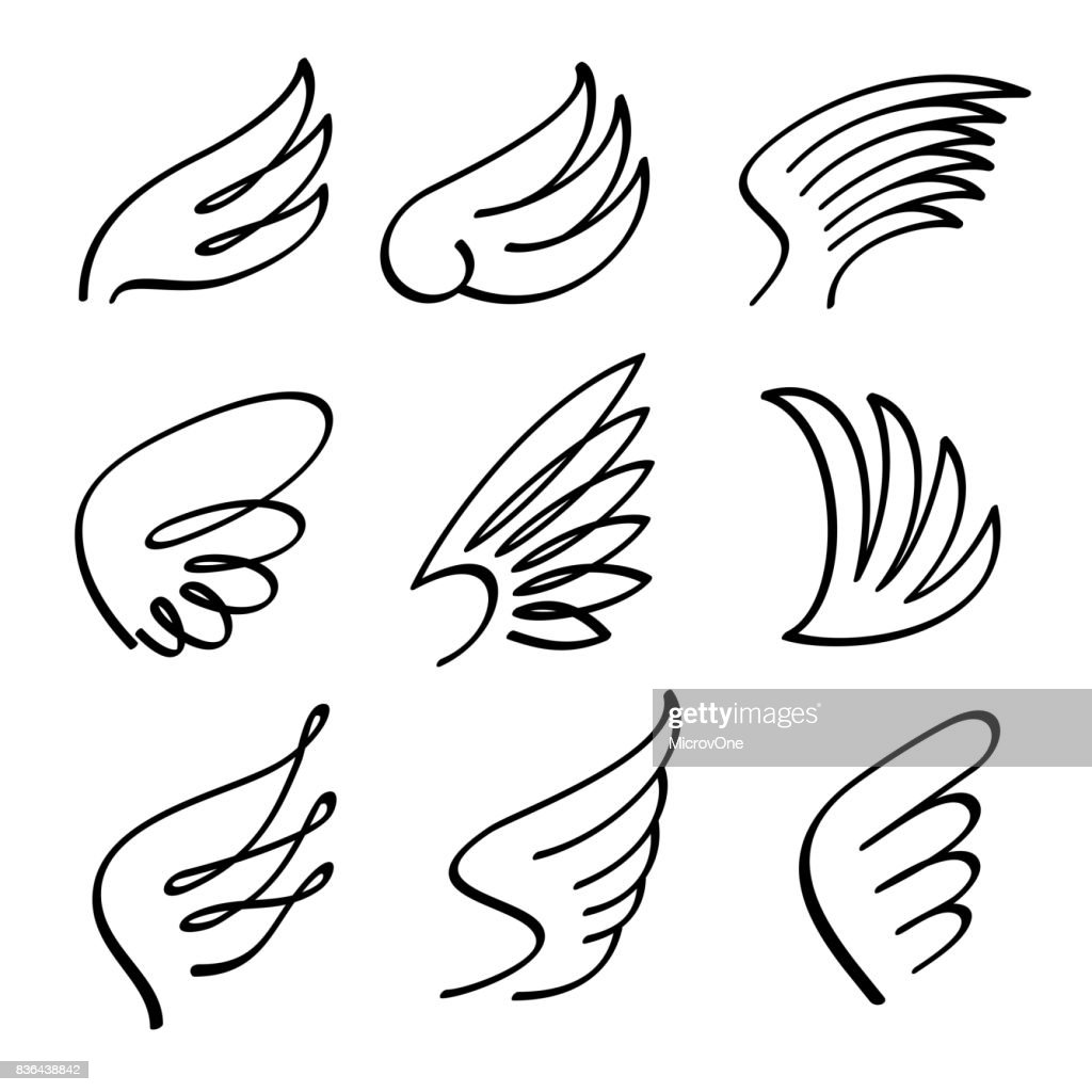 cartoon angel wings vector set sketch doodle winged abstract emblems rh thinkstockphotos com angel wing vector free download angel wing vector art