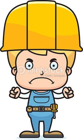 Comic Wutende Bauarbeiter Jungen Vektorgrafik Thinkstock