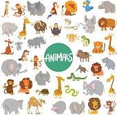Cartoon Illustration of Cute Wild Animal Characters Huge Set