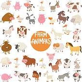Cartoon Illustration of Cute Farm Animal Characters Large Set
