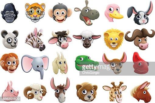 Cartoon Animal Faces Icon Set : stock vector