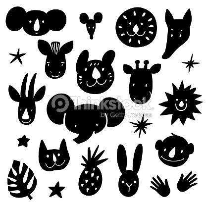 Paquete De Cabezas De Animales De Dibujos Animados Concepto Moderno ...