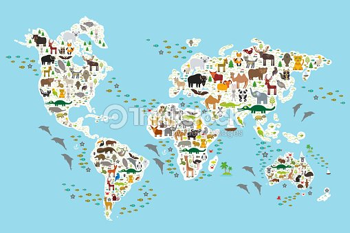 Cartoon animal world map for children, Animals world