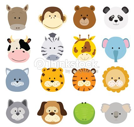 Cartoon animals faces