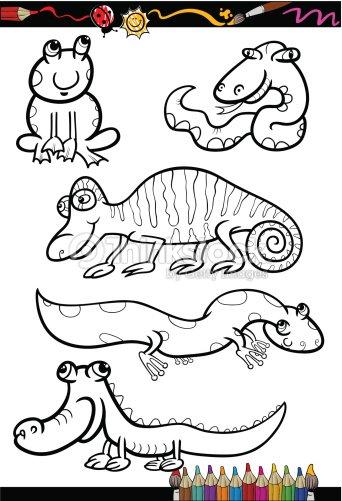 Conjunto De Dibujos Animados Animales Para Colorear Libro Arte ...
