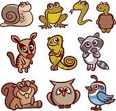 Cartoon Animals Set Vector Illustration