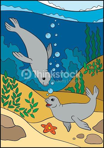 Cartoon animals. Two little cute seals swim underwater.