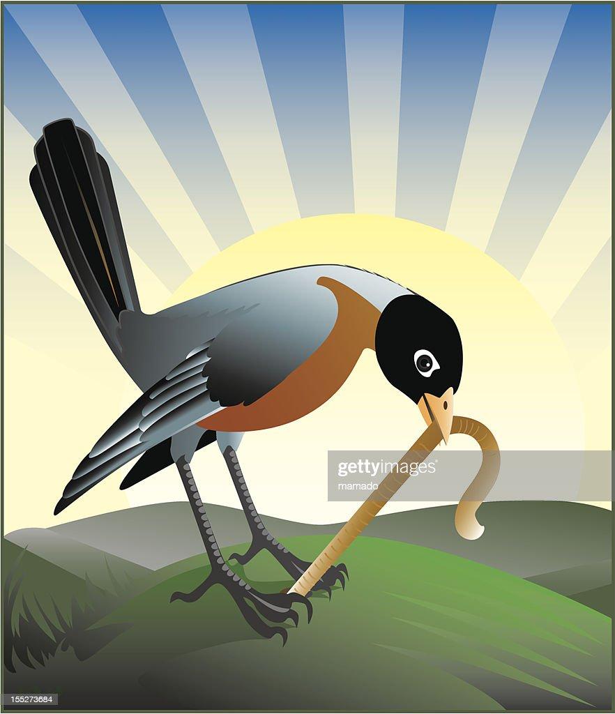 Cartoon animation of the early bird getting a worm : Vector Art