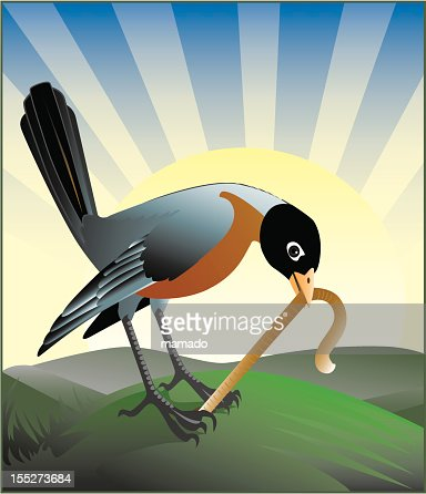 Cartoon animation of the early bird getting a worm : Vector Art
