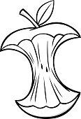 A vector illustration of a Cartoon Apple Core.