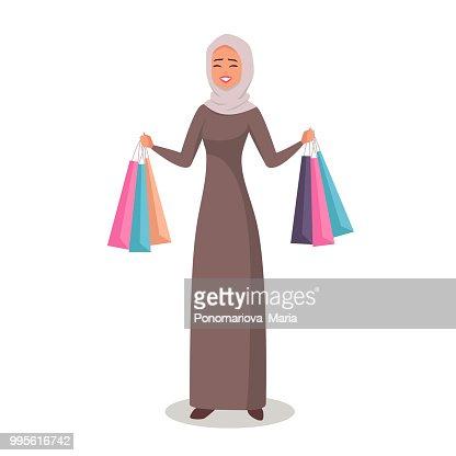 Dessin Shopping personnage de dessin animé arabe femme avec hijab est le shopping