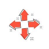 Cartoon arrow icon in comic style. Aim cursor illustration pictogram. Arrow sign splash business concept.