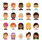 Diverse avatar set isolated on white background. Different skin and hair color, happy expressions. Cute and simple flat cartoon style.