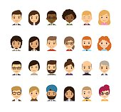 Set of diverse avatars isolated on white. Different nationalities, clothes and hair styles. Cute and simple flat cartoon style.