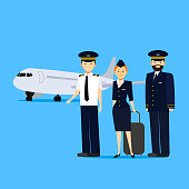 Cartoon Aviation Crew Members and Aircraft on Blue Background Professional Concept Element Flat Design Style. Vector illustration