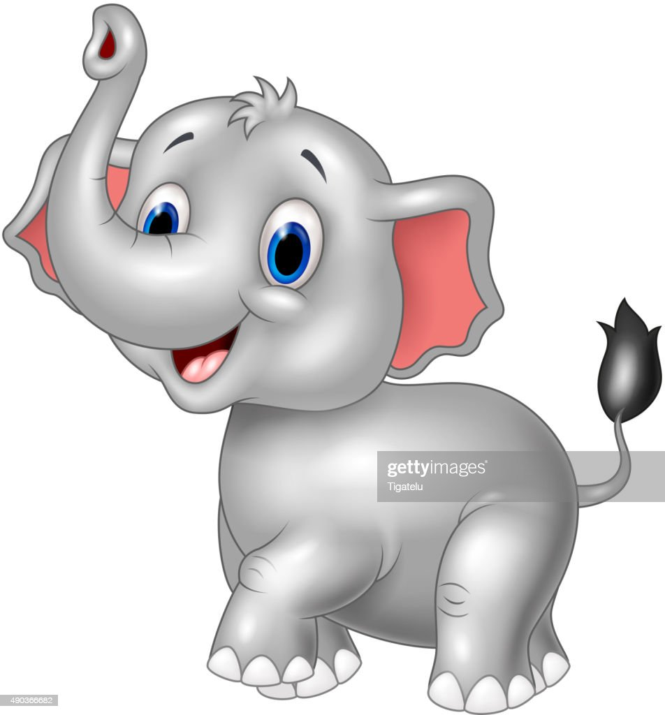 cartoon baby elephant look to the side with trunk up vector art