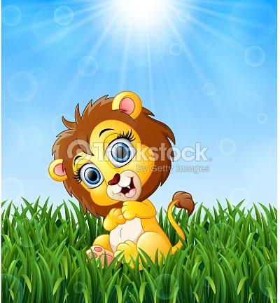 Dessin Animé Bébé Lion Assis Dans Lherbe Sur Un Fond Dinsolation