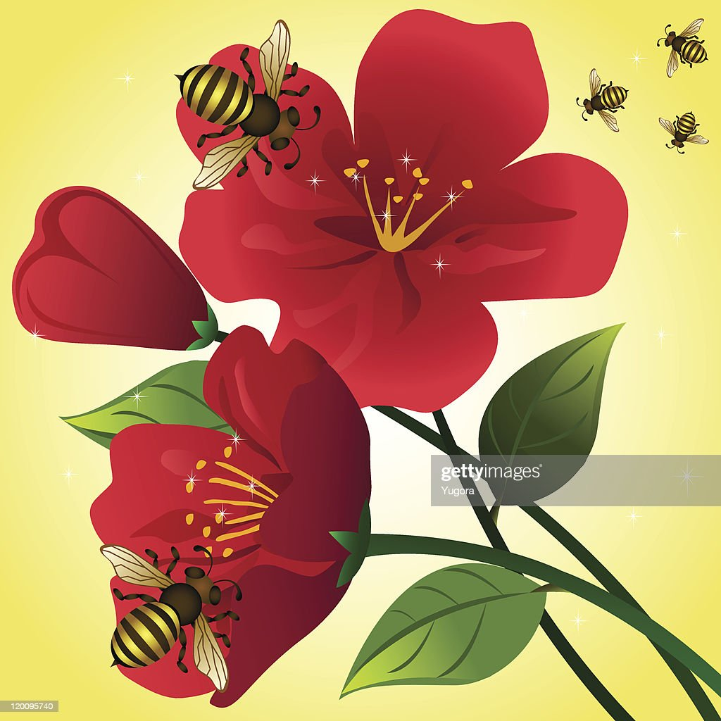 cartoon background with red flowers and honey bees vector art