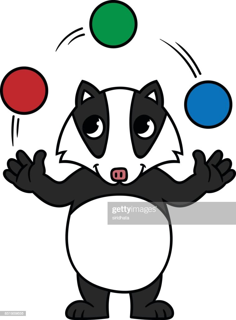 cartoon badger juggling balls vector art thinkstock rh thinkstockphotos co uk honey badger clipart badger clipart