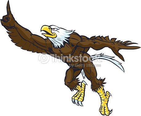 Dibujos Animados Mascota De águila Calva Haciendo Gesto Número Uno ...