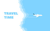 Cartoon banner of the flying plane and cloud on blue sky background. Concept design template of time to travel. Vector illustration in flat style.
