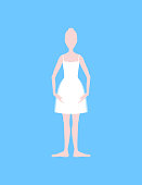 Cartoon Basic Ballet Classical Dance First Position White Silhouette Woman on a Blue Background. Vector illustration