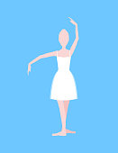 Cartoon Basic Ballet Classical Dance Position White Silhouette Woman on a Blue Background. Vector illustration
