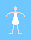 Cartoon Basic Ballet Classical Dance Fifth Position White Silhouette Woman on a Blue Background. Vector illustration