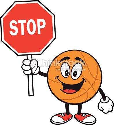 Dessin anim de basketball et panneau stop clipart vectoriel thinkstock - Prix d un panneau stop ...