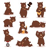 Collection of cute cartoon bear emotions icon. Brown character happy smiling bear drawing mammal teddy smile. Cheerful mascot cartoon bear grizzly, young, baby animal zoo collection.
