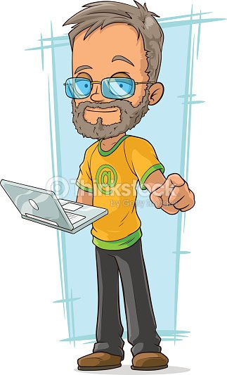 Cartoon Bearded Programmer In Glasses Stock Vector Thinkstock