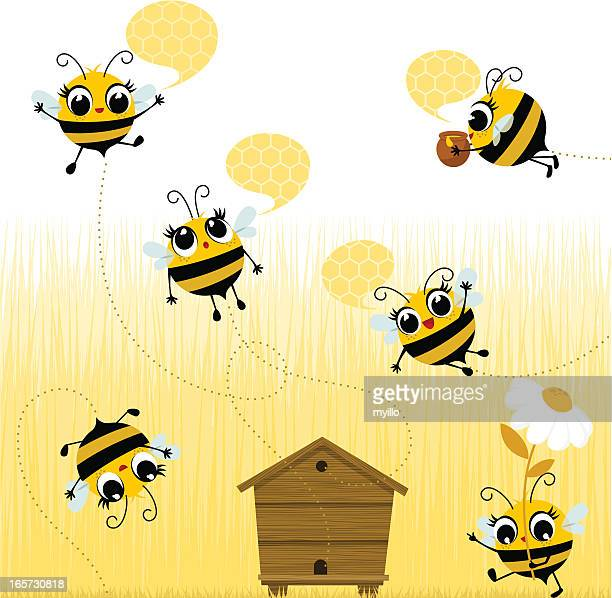 Cartoon bees flying around the wooden hive