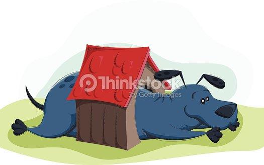 Cartoon Big Dog In Small House Vector Art Thinkstock - Big cartoon house