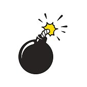 Cartoon comic style bomb illustration. Classic black ball grenade isolated vector clip art.