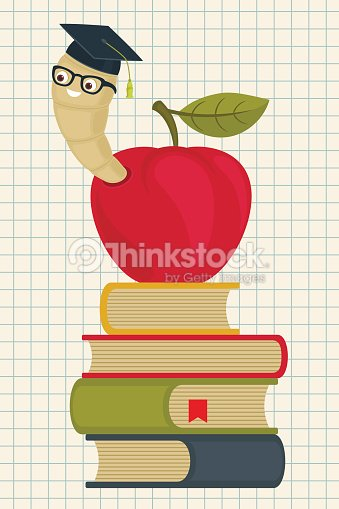 Cartoon Bookworm On A Pile Of Books Vector Art Thinkstock