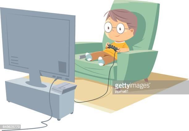 Cartoon boy gamer playing games