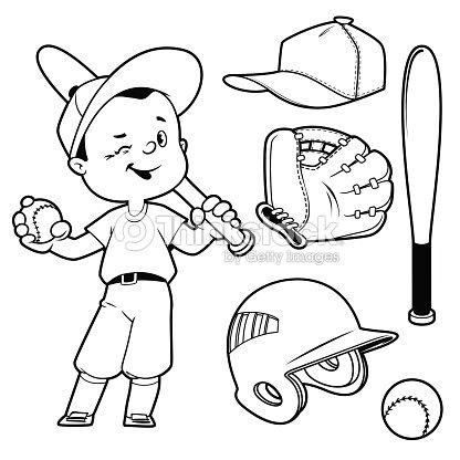 Cartoon Boy Playing Baseball Baseball Equipment Outline ...