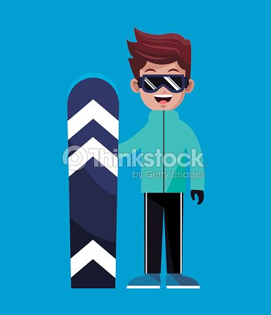 Cartoon boy snowboarding winter sport