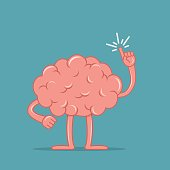Cartoon brain holding up his index finger and giving advice. Isolated character of the brain in flat style. Vector illustration.